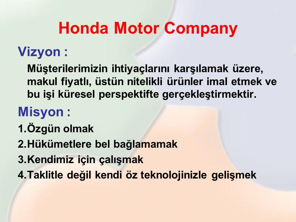 Honda Motor Company Vizyon : Müşterilerimizin ihtiyaçlarını karşılamak üzere, makul fiyatlı, üstün nitelikli ürünler imal etmek ve bu işi küresel pers