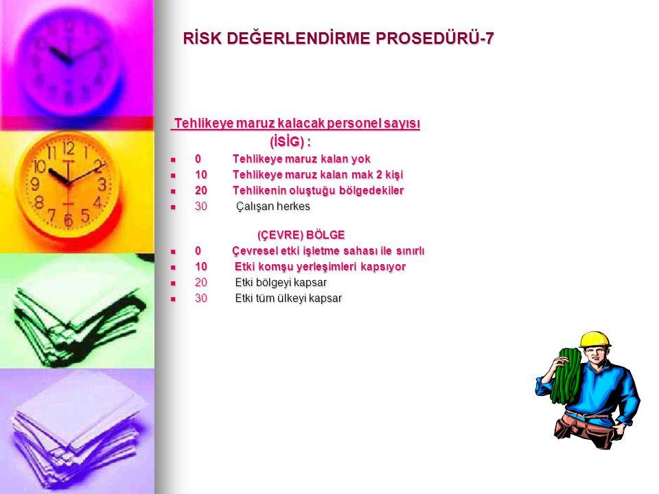 RİSK DEĞERLENDİRME PROSEDÜRÜ-7 Tehlikeye maruz kalacak personel sayısı Tehlikeye maruz kalacak personel sayısı (İSİG) : (İSİG) :  0 Tehlikeye maruz k