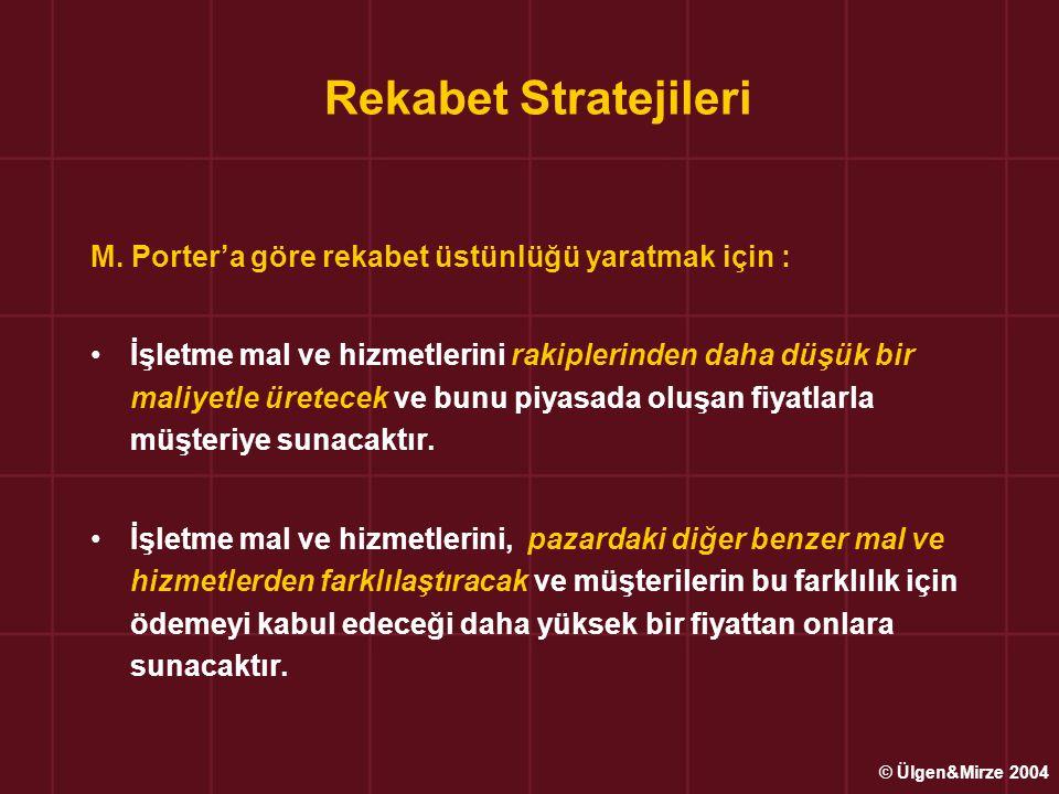 Rekabet Stratejileri M. Porter'a göre rekabet üstünlüğü yaratmak için : •İşletme mal ve hizmetlerini rakiplerinden daha düşük bir maliyetle üretecek v
