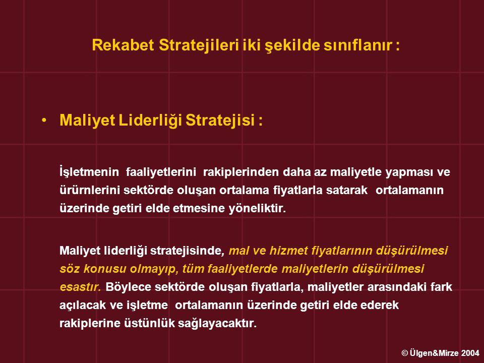 Rekabet Stratejileri iki şekilde sınıflanır : •Maliyet Liderliği Stratejisi : İşletmenin faaliyetlerini rakiplerinden daha az maliyetle yapması ve ürü