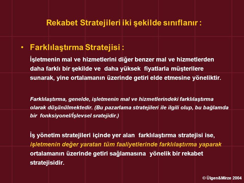 Rekabet Stratejileri iki şekilde sınıflanır : •Farklılaştırma Stratejisi : İşletmenin mal ve hizmetlerini diğer benzer mal ve hizmetlerden daha farklı