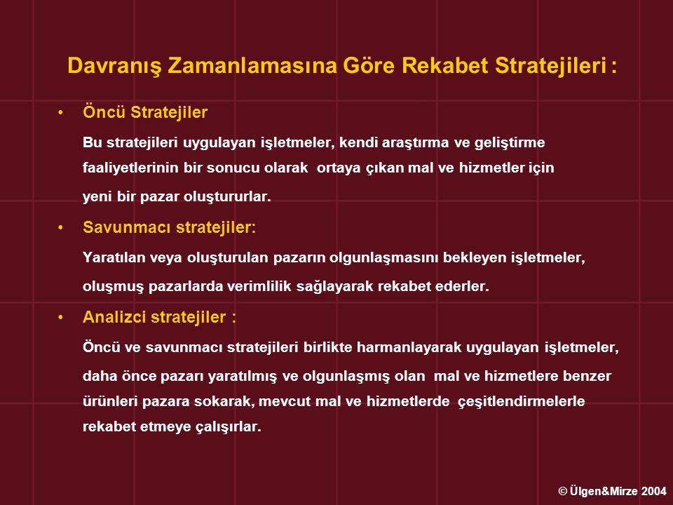Davranış Zamanlamasına Göre Rekabet Stratejileri : •Öncü Stratejiler Bu stratejileri uygulayan işletmeler, kendi araştırma ve geliştirme faaliyetlerin