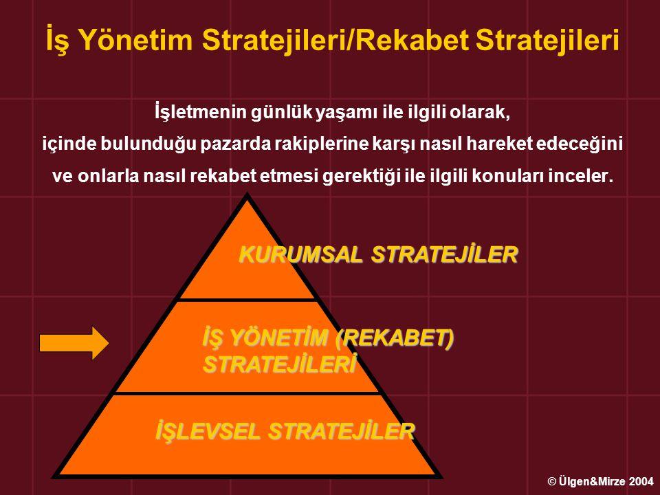 İş Yönetim Stratejileri/Rekabet Stratejileri İşletmenin günlük yaşamı ile ilgili olarak, içinde bulunduğu pazarda rakiplerine karşı nasıl hareket edec