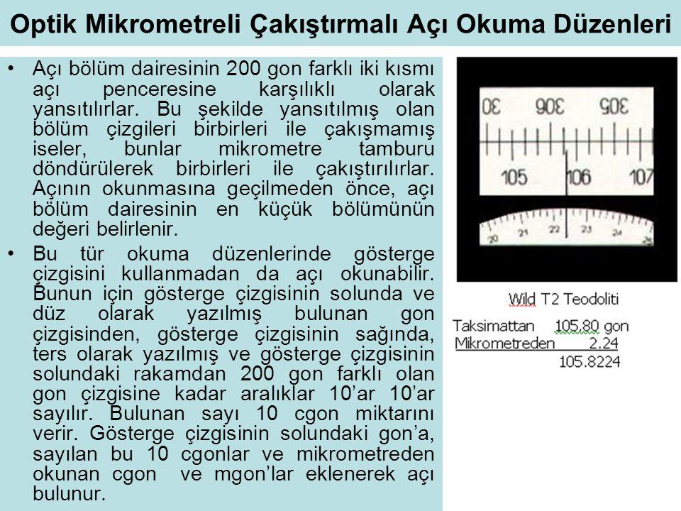Optik Mikrometreli Çakıştırmalı Açı Okuma Düzenleri •Açı bölüm dairesinin 200 gon farklı iki kısmı açı penceresine karşılıklı olarak yansıtılırlar. Bu