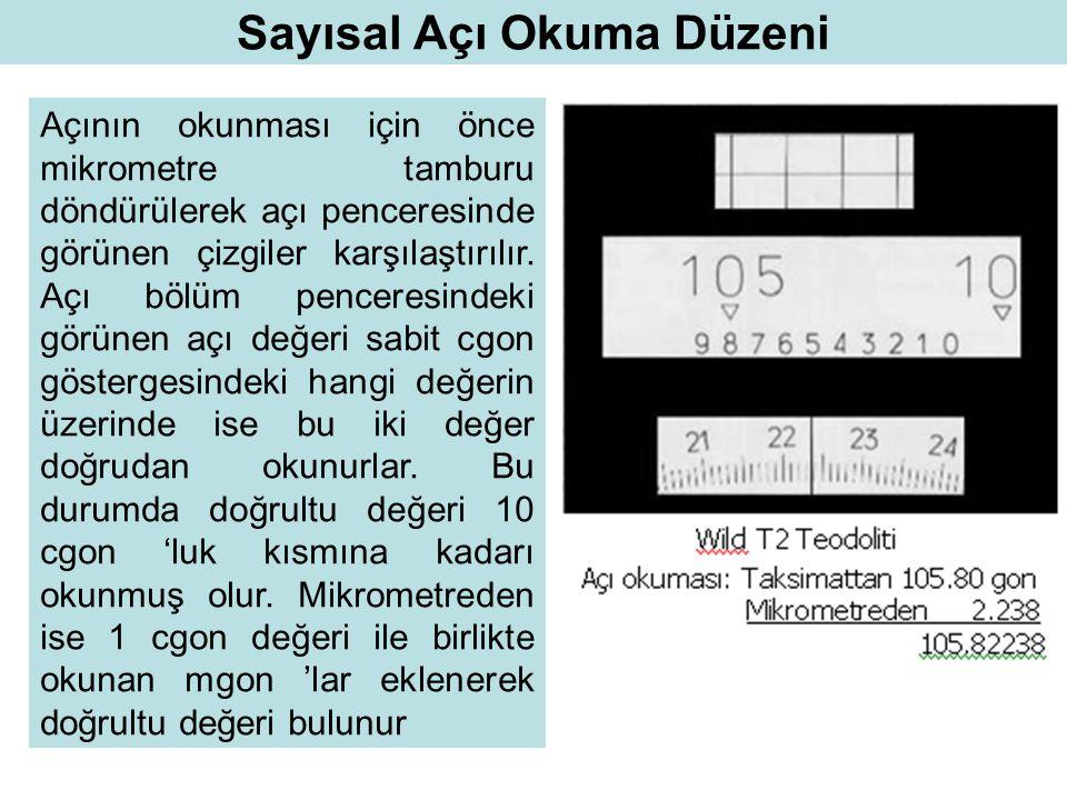 Sayısal Açı Okuma Düzeni Açının okunması için önce mikrometre tamburu döndürülerek açı penceresinde görünen çizgiler karşılaştırılır. Açı bölüm pencer