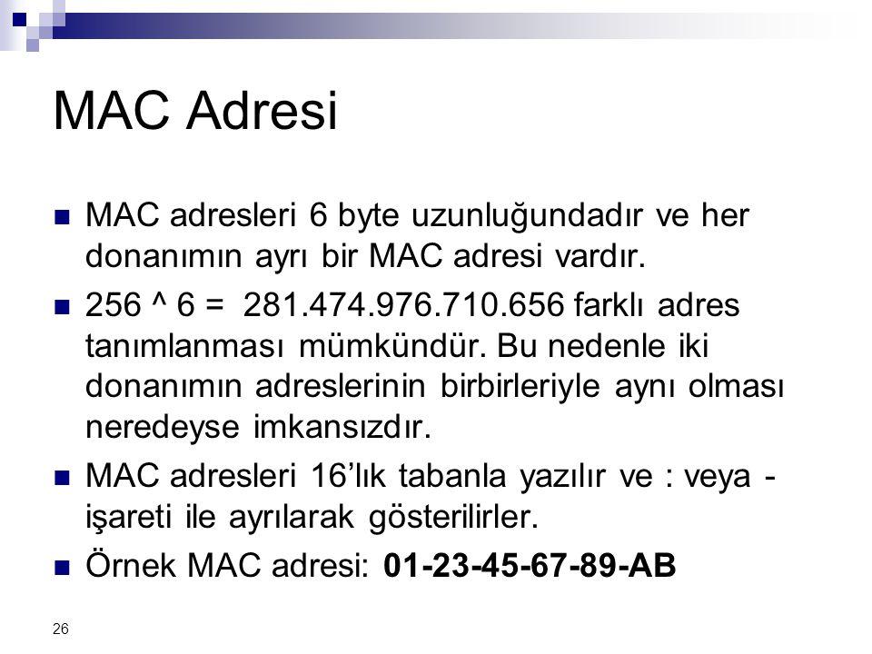 26 MAC Adresi  MAC adresleri 6 byte uzunluğundadır ve her donanımın ayrı bir MAC adresi vardır.