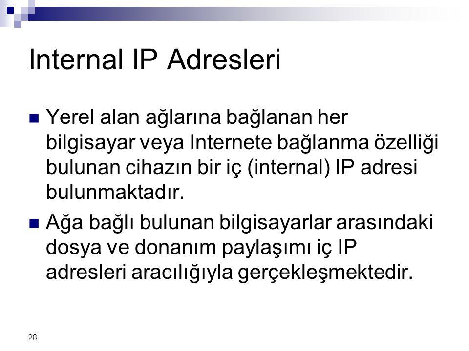 28 Internal IP Adresleri  Yerel alan ağlarına bağlanan her bilgisayar veya Internete bağlanma özelliği bulunan cihazın bir iç (internal) IP adresi bulunmaktadır.