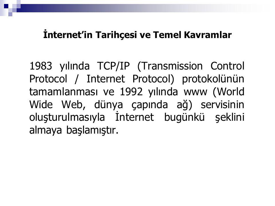 İnternet'in Tarihçesi ve Temel Kavramlar 1983 yılında TCP/IP (Transmission Control Protocol / Internet Protocol) protokolünün tamamlanması ve 1992 yılında www (World Wide Web, dünya çapında ağ) servisinin oluşturulmasıyla İnternet bugünkü şeklini almaya başlamıştır.