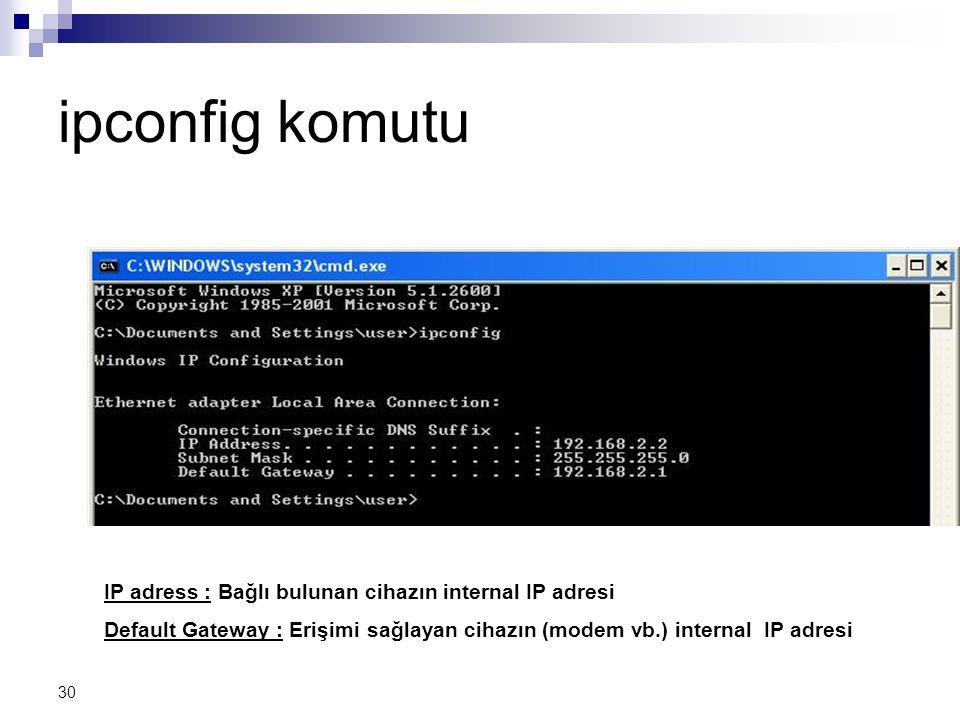 30 ipconfig komutu IP adress : Bağlı bulunan cihazın internal IP adresi Default Gateway : Erişimi sağlayan cihazın (modem vb.) internal IP adresi