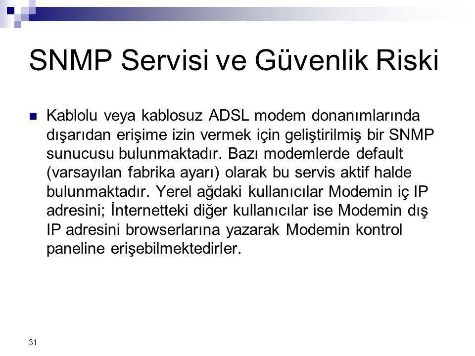 31 SNMP Servisi ve Güvenlik Riski  Kablolu veya kablosuz ADSL modem donanımlarında dışarıdan erişime izin vermek için geliştirilmiş bir SNMP sunucusu bulunmaktadır.