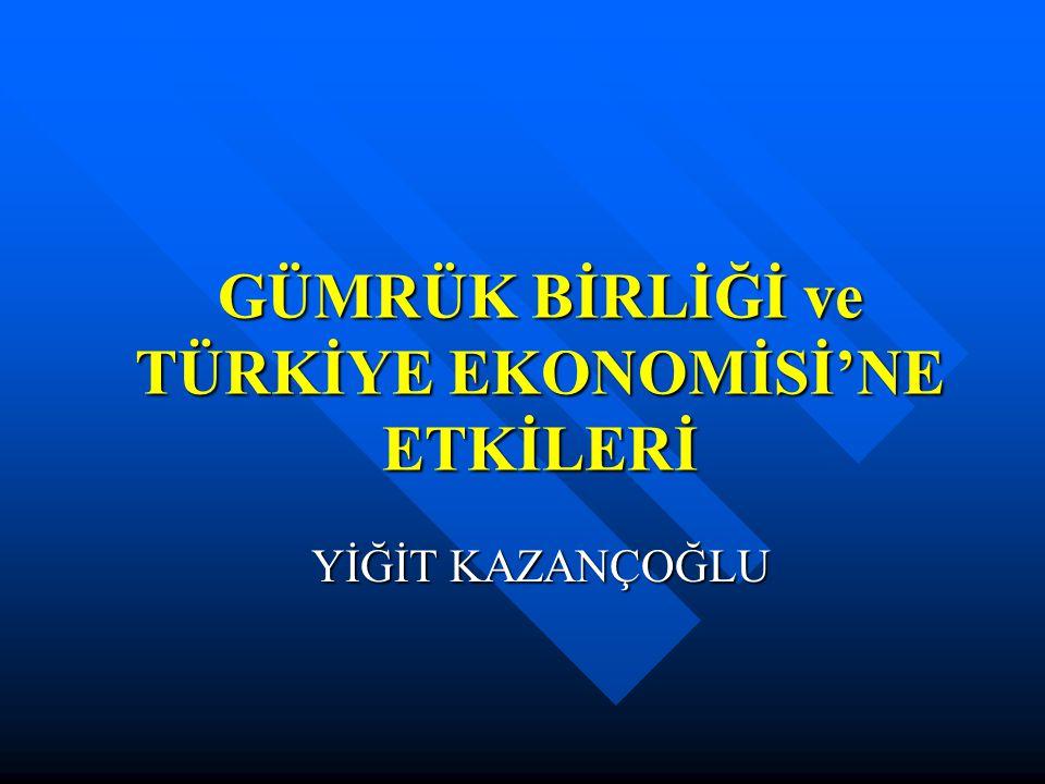  Türkiye'nin Avrupa Birliği ile bütünleşme hedefine yönelik ortaklık ilişkisinin önemli bir aşaması olan Gümrük Birliği, aynı zamanda dışa dönük büyüme politikası çerçevesinde taraf olduğu en geniş kapsamlı ticari yapılanma olarak 1 Ocak 1996'da tamamlanmıştır.