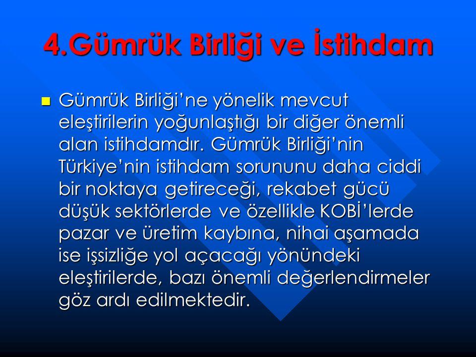 4.Gümrük Birliği ve İstihdam  Gümrük Birliği'ne yönelik mevcut eleştirilerin yoğunlaştığı bir diğer önemli alan istihdamdır. Gümrük Birliği'nin Türki