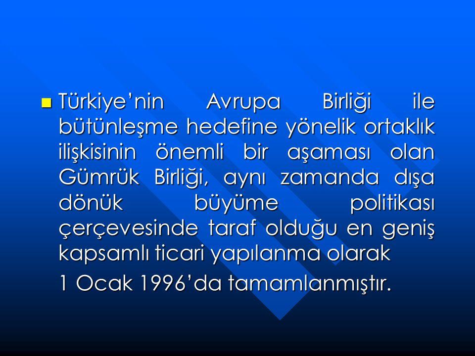  Türkiye'nin Avrupa Birliği ile bütünleşme hedefine yönelik ortaklık ilişkisinin önemli bir aşaması olan Gümrük Birliği, aynı zamanda dışa dönük büyü