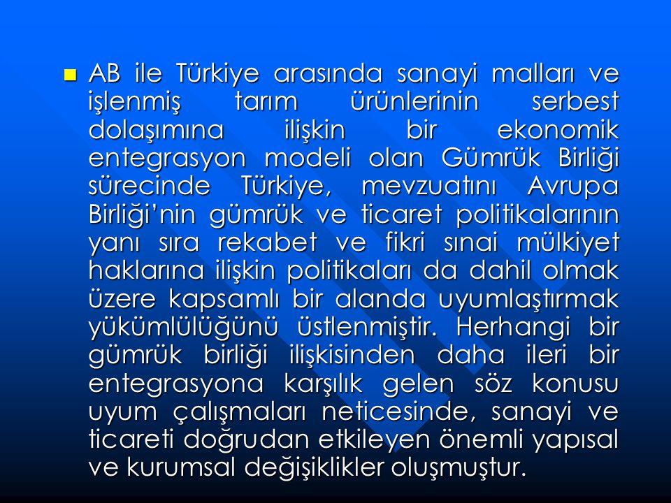 Gümrük Vergileri ve Kotalarının Kaldırılması ve AB Gümrük Kodu'na Uyum  1/95 sayılı Ortaklık Konseyi Kararı'nda taraflar, 1996 yılında Gümrük Birliği'nin tamamlanmasıyla sanayi ürünleri ve işlenmiş tarım ürünlerinde gümrüklerin sıfırlanmasını, tarım ürünlerinde serbest dolaşımın ise Türkiye'nin Topluluğun Ortak Tarım Politikası'na uyum sağlanmasından sonra gerçekleşmesini hükme bağlamışlardır.