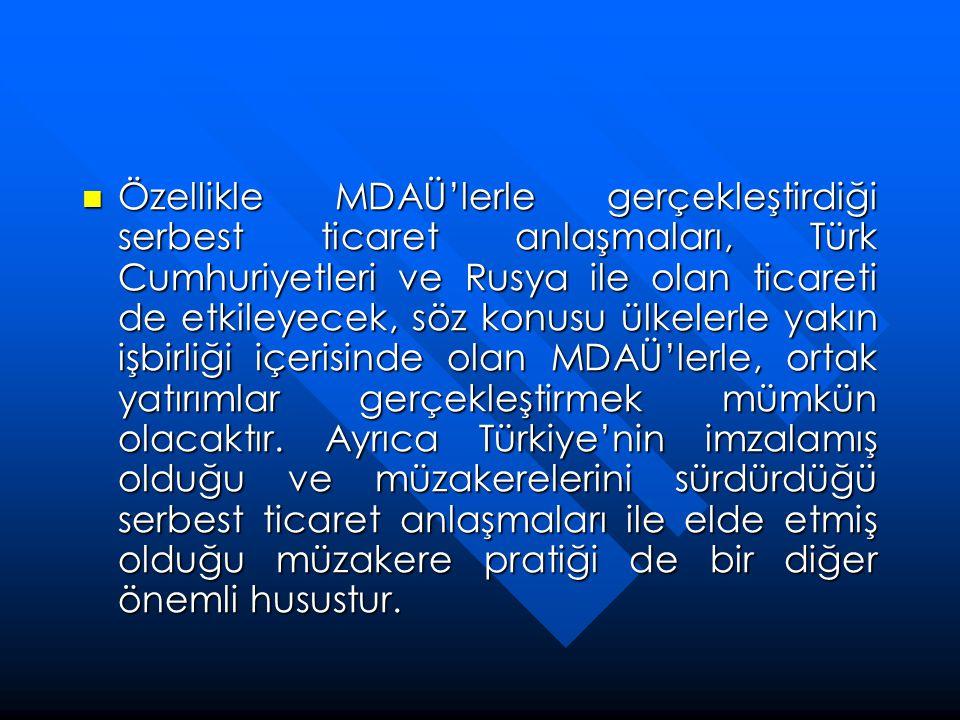  Özellikle MDAÜ'lerle gerçekleştirdiği serbest ticaret anlaşmaları, Türk Cumhuriyetleri ve Rusya ile olan ticareti de etkileyecek, söz konusu ülkeler