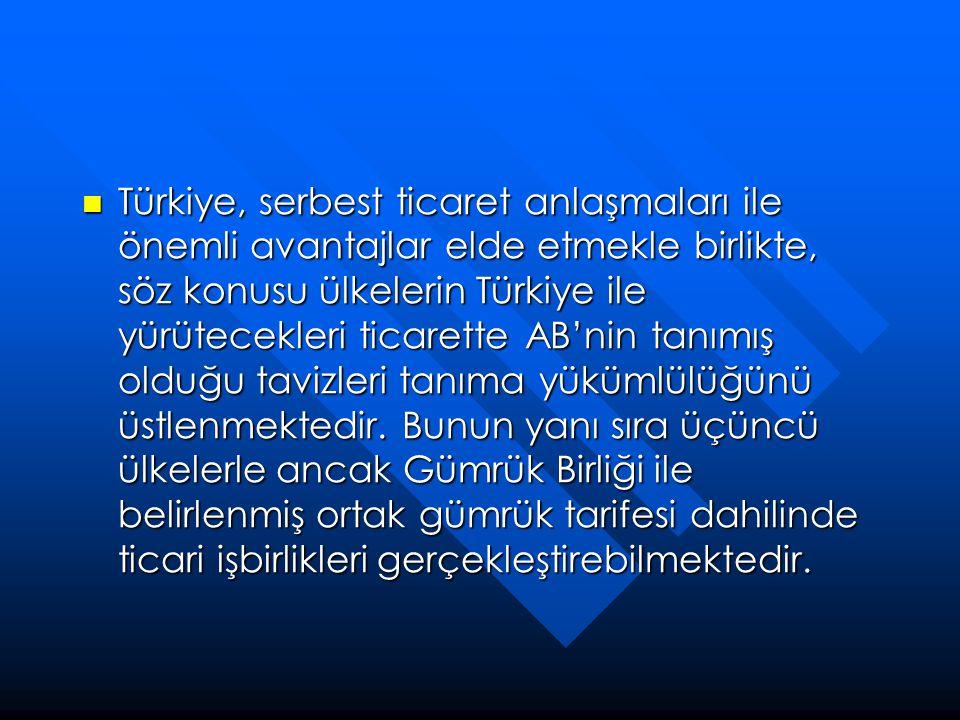  Türkiye, serbest ticaret anlaşmaları ile önemli avantajlar elde etmekle birlikte, söz konusu ülkelerin Türkiye ile yürütecekleri ticarette AB'nin ta