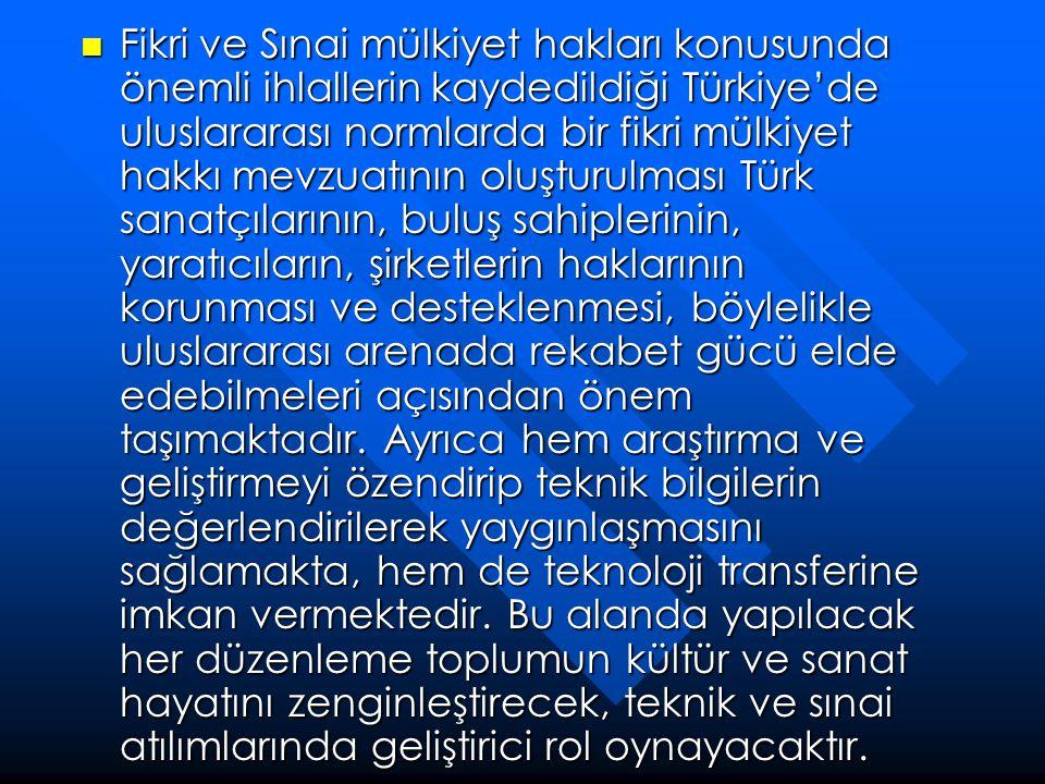  Fikri ve Sınai mülkiyet hakları konusunda önemli ihlallerin kaydedildiği Türkiye'de uluslararası normlarda bir fikri mülkiyet hakkı mevzuatının oluş