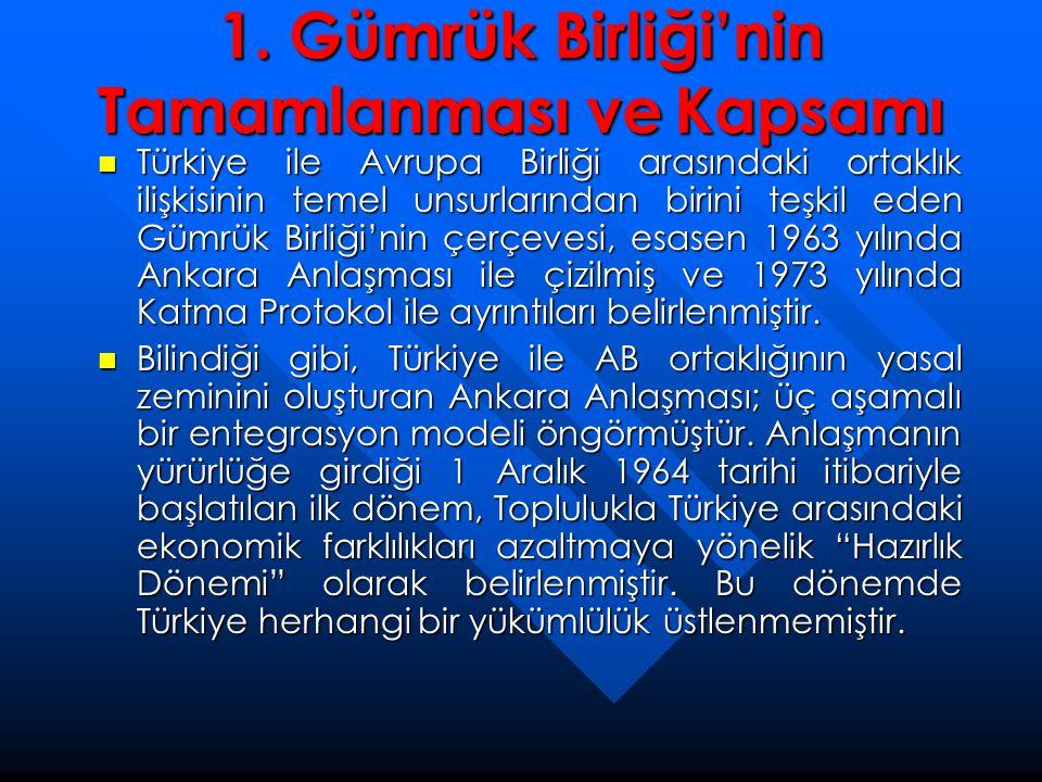 1. Gümrük Birliği'nin Tamamlanması ve Kapsamı  Türkiye ile Avrupa Birliği arasındaki ortaklık ilişkisinin temel unsurlarından birini teşkil eden Gümr