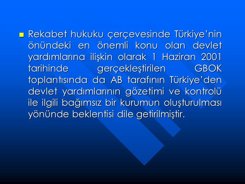  Rekabet hukuku çerçevesinde Türkiye'nin önündeki en önemli konu olan devlet yardımlarına ilişkin olarak 1 Haziran 2001 tarihinde gerçekleştirilen GB