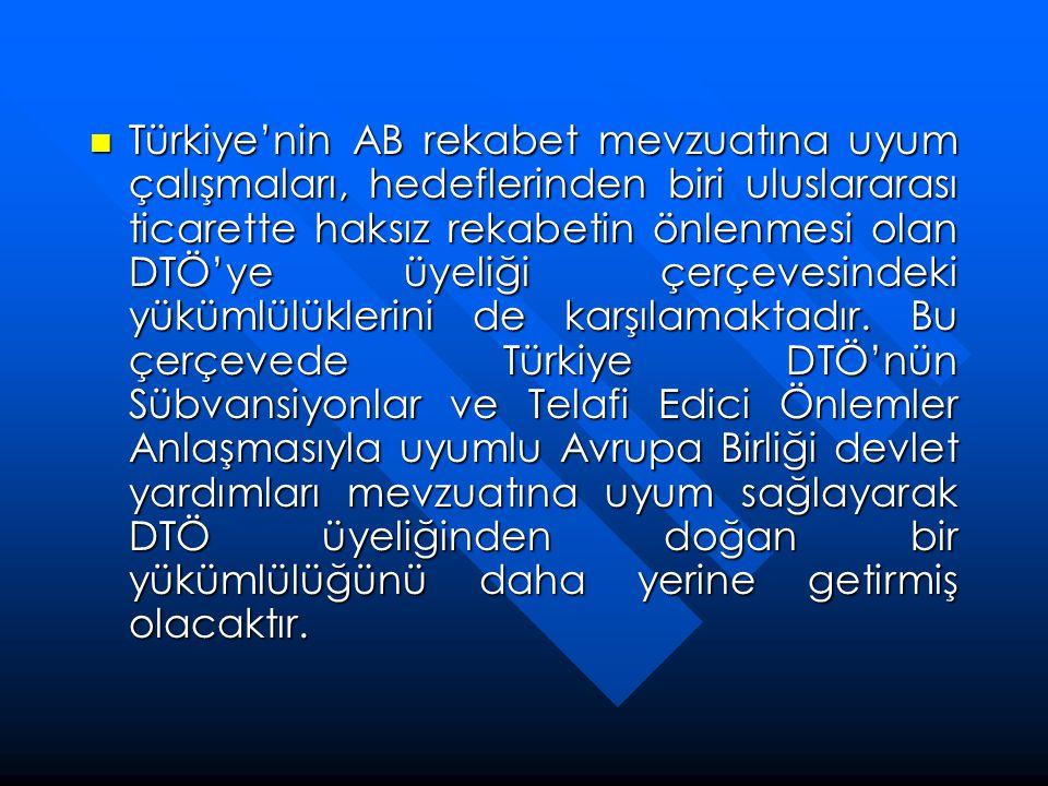  Türkiye'nin AB rekabet mevzuatına uyum çalışmaları, hedeflerinden biri uluslararası ticarette haksız rekabetin önlenmesi olan DTÖ'ye üyeliği çerçeve