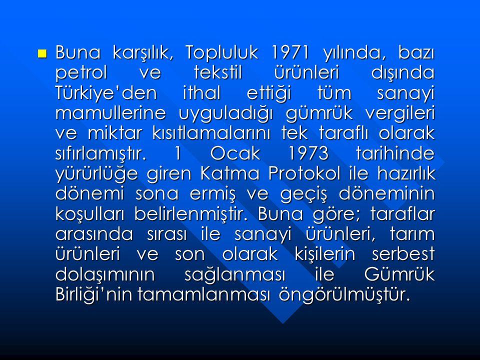  Buna karşılık, Topluluk 1971 yılında, bazı petrol ve tekstil ürünleri dışında Türkiye'den ithal ettiği tüm sanayi mamullerine uyguladığı gümrük verg