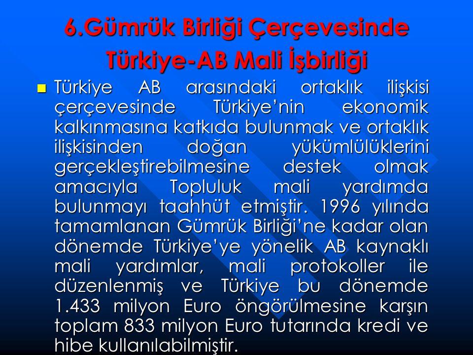 6.Gümrük Birliği Çerçevesinde Türkiye-AB Mali İşbirliği  Türkiye AB arasındaki ortaklık ilişkisi çerçevesinde Türkiye'nin ekonomik kalkınmasına katkı