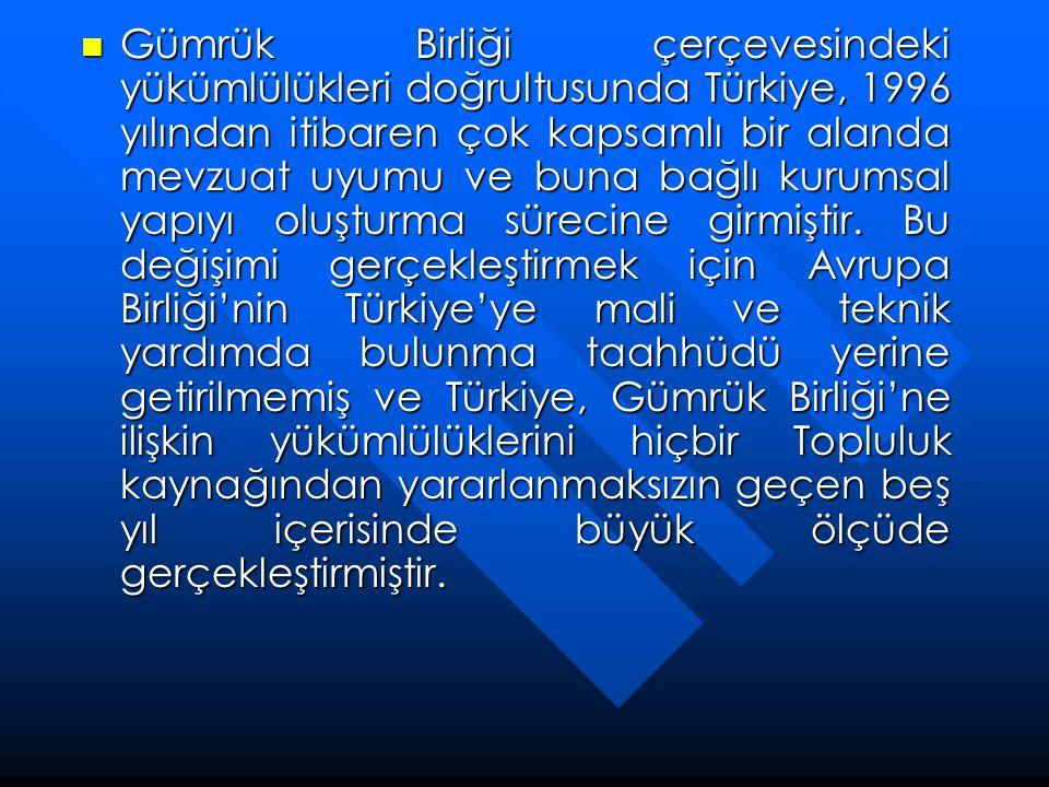 Gümrük Birliği çerçevesindeki yükümlülükleri doğrultusunda Türkiye, 1996 yılından itibaren çok kapsamlı bir alanda mevzuat uyumu ve buna bağlı kurum