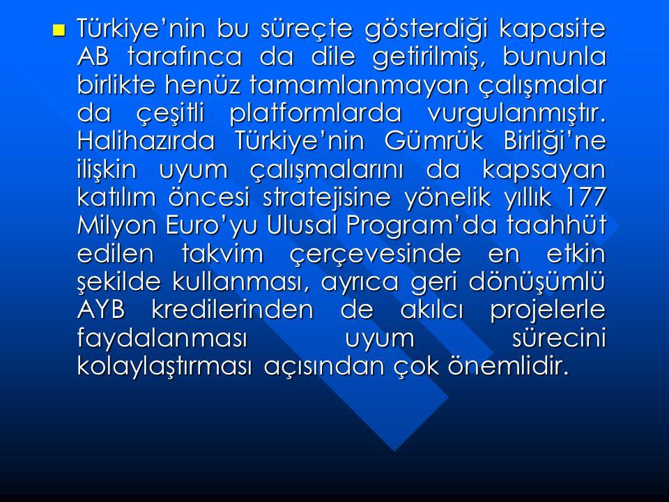  Türkiye'nin bu süreçte gösterdiği kapasite AB tarafınca da dile getirilmiş, bununla birlikte henüz tamamlanmayan çalışmalar da çeşitli platformlarda