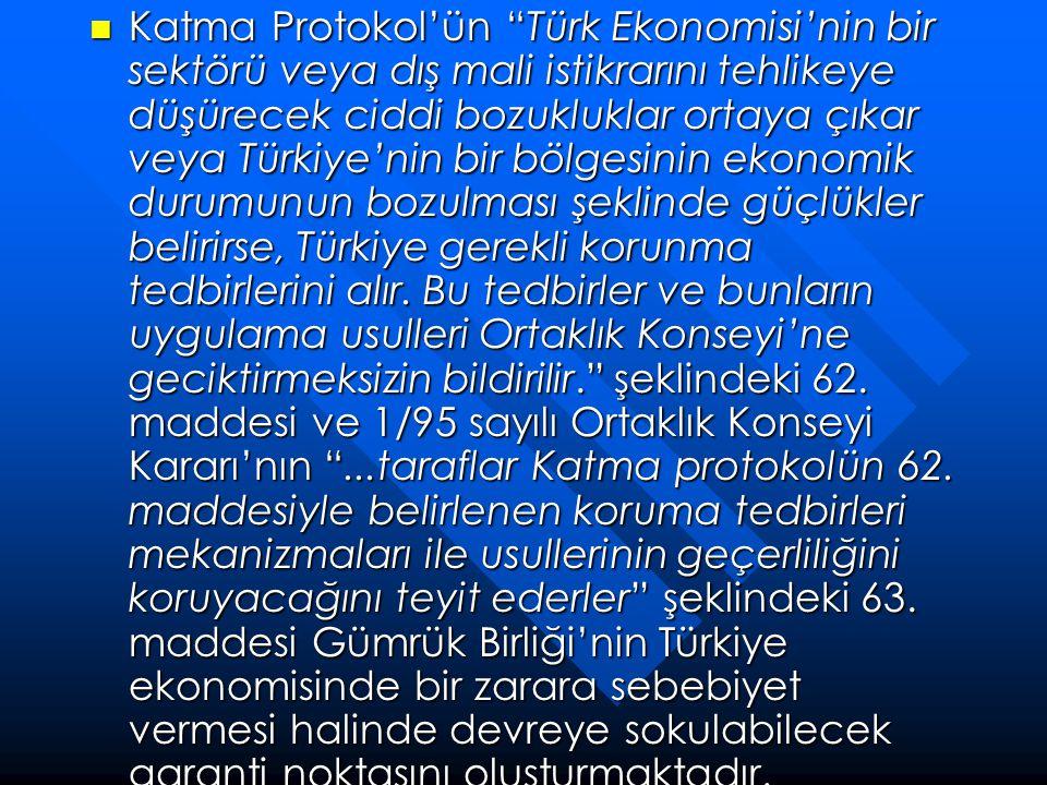 """ Katma Protokol'ün """"Türk Ekonomisi'nin bir sektörü veya dış mali istikrarını tehlikeye düşürecek ciddi bozukluklar ortaya çıkar veya Türkiye'nin bir"""