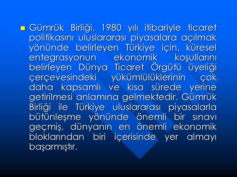 Gümrük Birliği, 1980 yılı itibariyle ticaret politikasını uluslararası piyasalara açılmak yönünde belirleyen Türkiye için, küresel entegrasyonun eko