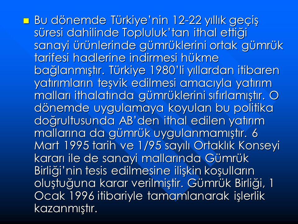  Bu dönemde Türkiye'nin 12-22 yıllık geçiş süresi dahilinde Topluluk'tan ithal ettiği sanayi ürünlerinde gümrüklerini ortak gümrük tarifesi hadlerine