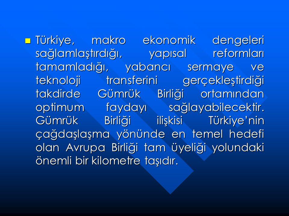  Türkiye, makro ekonomik dengeleri sağlamlaştırdığı, yapısal reformları tamamladığı, yabancı sermaye ve teknoloji transferini gerçekleştirdiği takdir