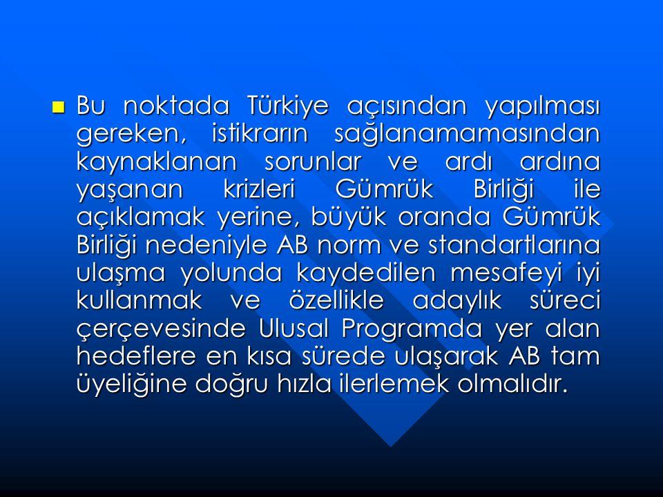  Bu noktada Türkiye açısından yapılması gereken, istikrarın sağlanamamasından kaynaklanan sorunlar ve ardı ardına yaşanan krizleri Gümrük Birliği ile