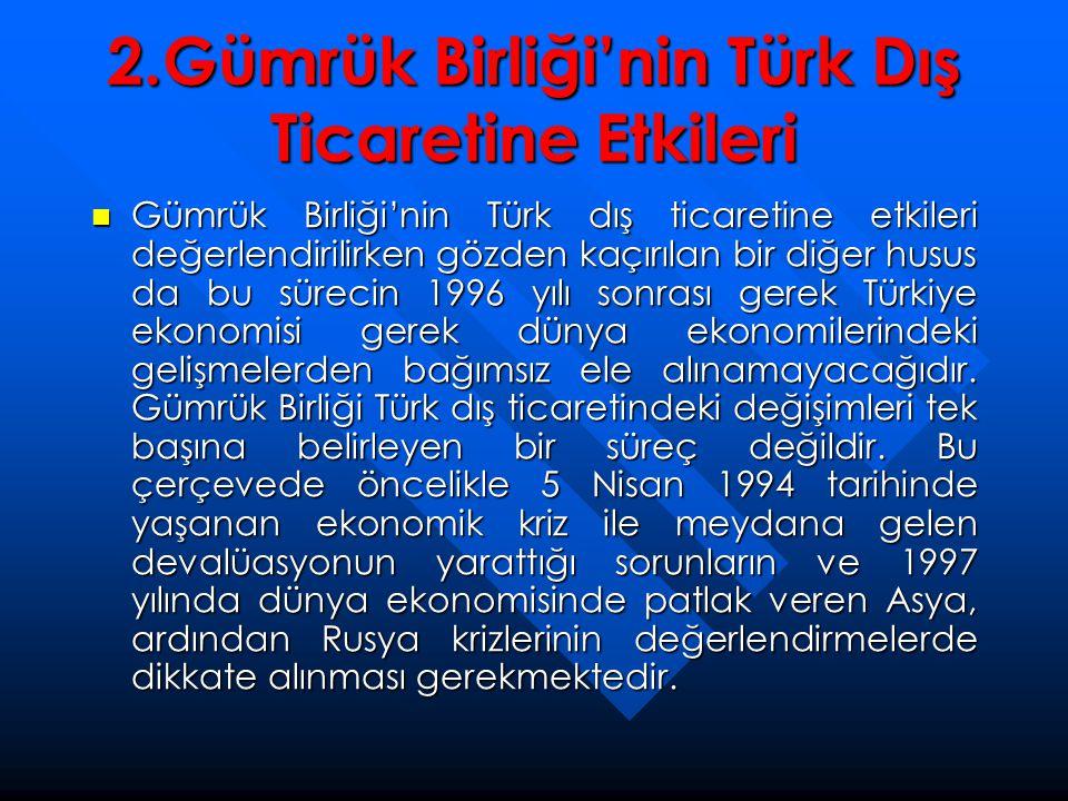 2.Gümrük Birliği'nin Türk Dış Ticaretine Etkileri  Gümrük Birliği'nin Türk dış ticaretine etkileri değerlendirilirken gözden kaçırılan bir diğer husu