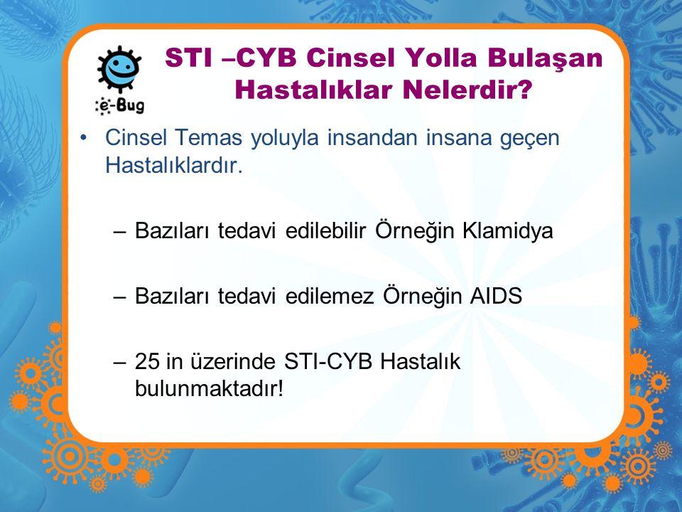 STI –CYB Cinsel Yolla Bulaşan Hastalıklar Nelerdir? •Cinsel Temas yoluyla insandan insana geçen Hastalıklardır. –Bazıları tedavi edilebilir Örneğin Kl