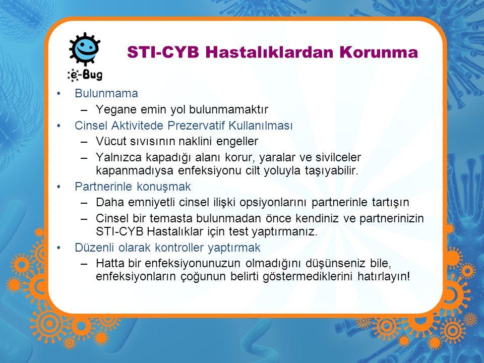 STI-CYB Hastalıklardan Korunma •Bulunmama –Yegane emin yol bulunmamaktır •Cinsel Aktivitede Prezervatif Kullanılması –Vücut sıvısının naklini engeller