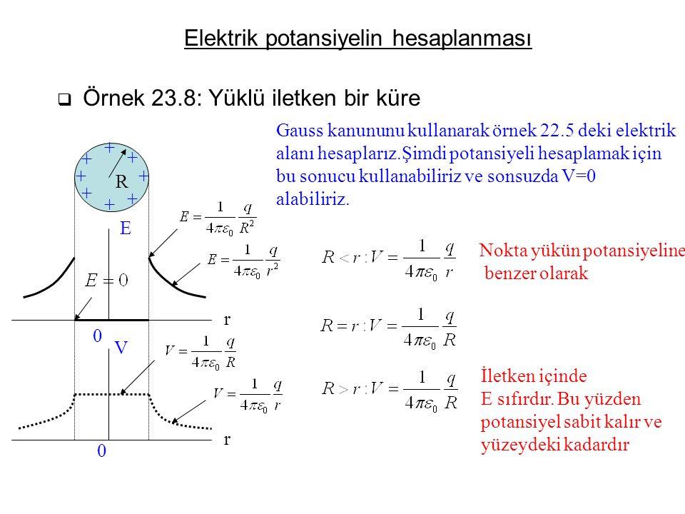 Elektrik potansiyelin hesaplanması  Örnek 23.8: Yüklü iletken bir küre + + + + + + + + E V 0 0 R r r Gauss kanununu kullanarak örnek 22.5 deki elektr