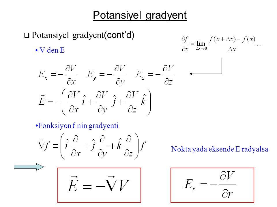 Potansiyel gradyent  Potansiyel gradyent (cont'd) • V den E •Fonksiyon f nin gradyenti Nokta yada eksende E radyalsa