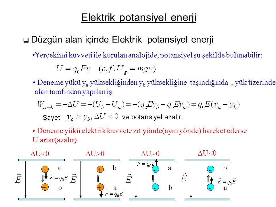 Elektrik potansiyel enerji  Düzgün alan içinde Elektrik potansiyel enerji •Y erçekimi kuvveti ile kurulan analojide, potansiyel şu şekilde bulunabili