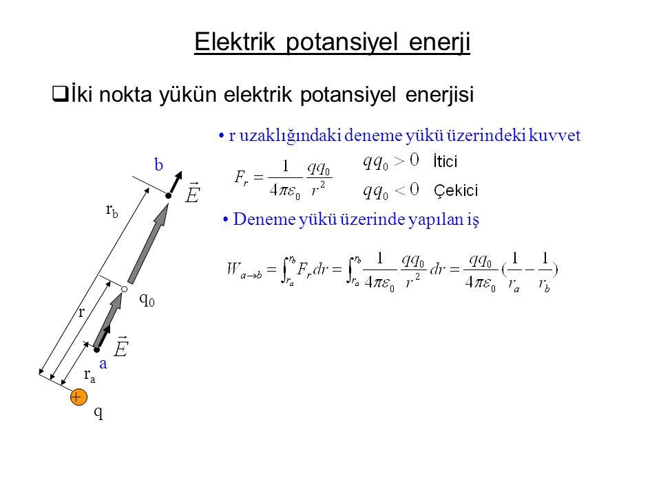 Elektrik potansiyel enerji  İki nokta yükün elektrik potansiyel enerjisi • r uzaklığındaki deneme yükü üzerindeki kuvvet + q q0q0 rbrb r rara • Denem