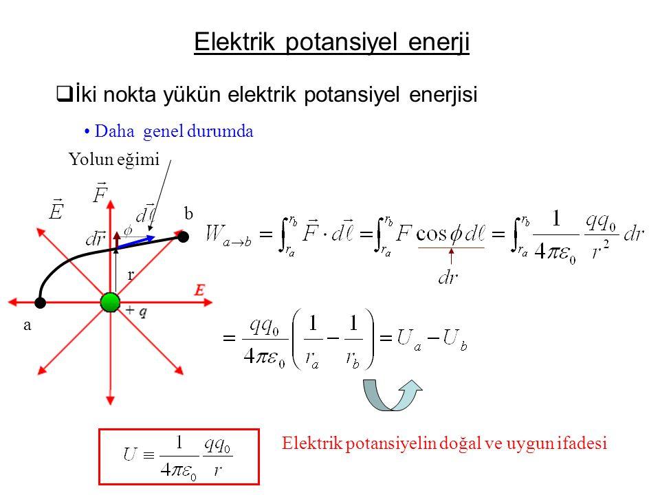 Elektrik potansiyel enerji  İki nokta yükün elektrik potansiyel enerjisi • Daha genel durumda a b r Yolun eğimi Elektrik potansiyelin doğal ve uygun