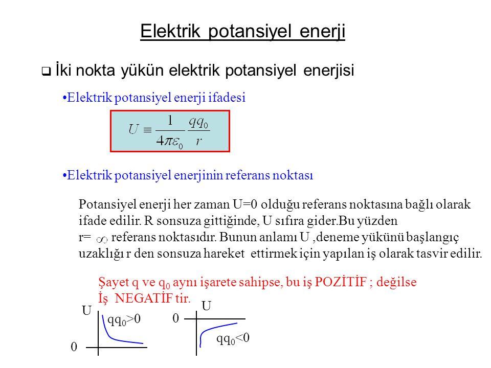 Elektrik potansiyel enerji  İki nokta yükün elektrik potansiyel enerjisi •Elektrik potansiyel enerji ifadesi •Elektrik potansiyel enerjinin referans