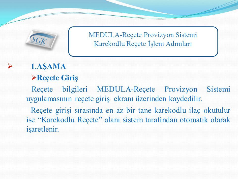 MEDULA-Reçete Provizyon Sistemi Karekodlu Reçete İşlem Adımları  1.AŞAMA  Reçete Giriş Reçete bilgileri MEDULA-Reçete Provizyon Sistemi uygulamasının reçete giriş ekranı üzerinden kaydedilir.