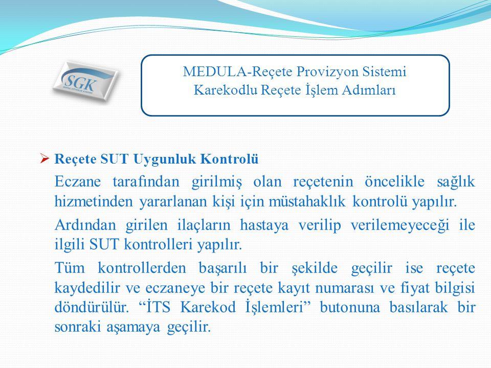 MEDULA-Reçete Provizyon Sistemi Karekodlu Reçete İşlem Adımları  Reçete SUT Uygunluk Kontrolü Eczane tarafından girilmiş olan reçetenin öncelikle sağlık hizmetinden yararlanan kişi için müstahaklık kontrolü yapılır.