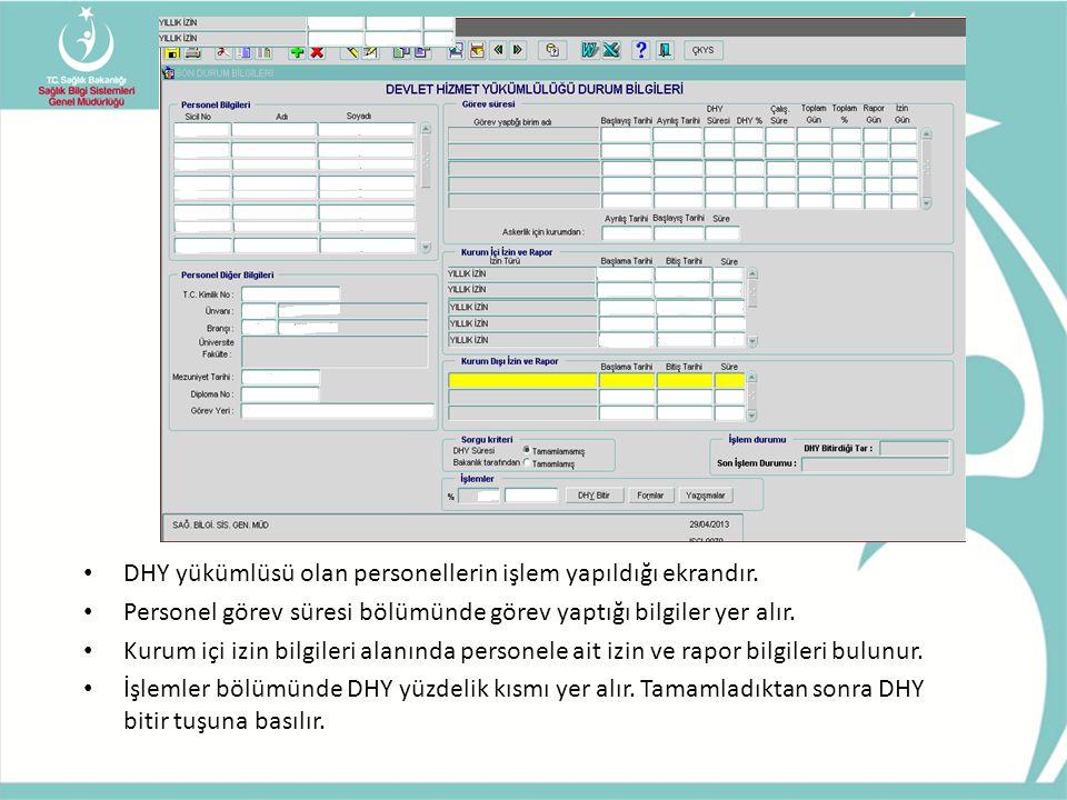 • DHY yükümlüsü olan personellerin işlem yapıldığı ekrandır. • Personel görev süresi bölümünde görev yaptığı bilgiler yer alır. • Kurum içi izin bilgi
