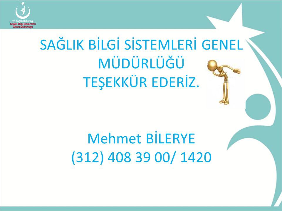 SAĞLIK BİLGİ SİSTEMLERİ GENEL MÜDÜRLÜĞÜ TEŞEKKÜR EDERİZ. Mehmet BİLERYE (312) 408 39 00/ 1420
