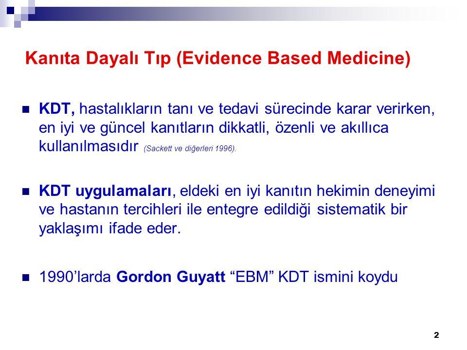 2 Kanıta Dayalı Tıp (Evidence Based Medicine)  KDT, hastalıkların tanı ve tedavi sürecinde karar verirken, en iyi ve güncel kanıtların dikkatli, özen
