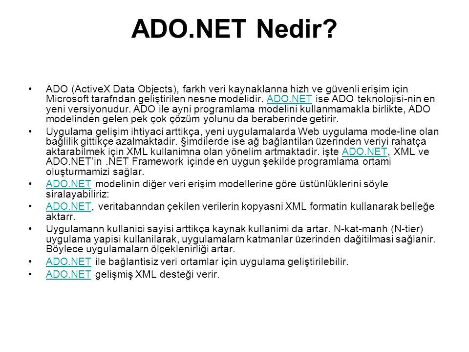 ADO.NET Nedir.