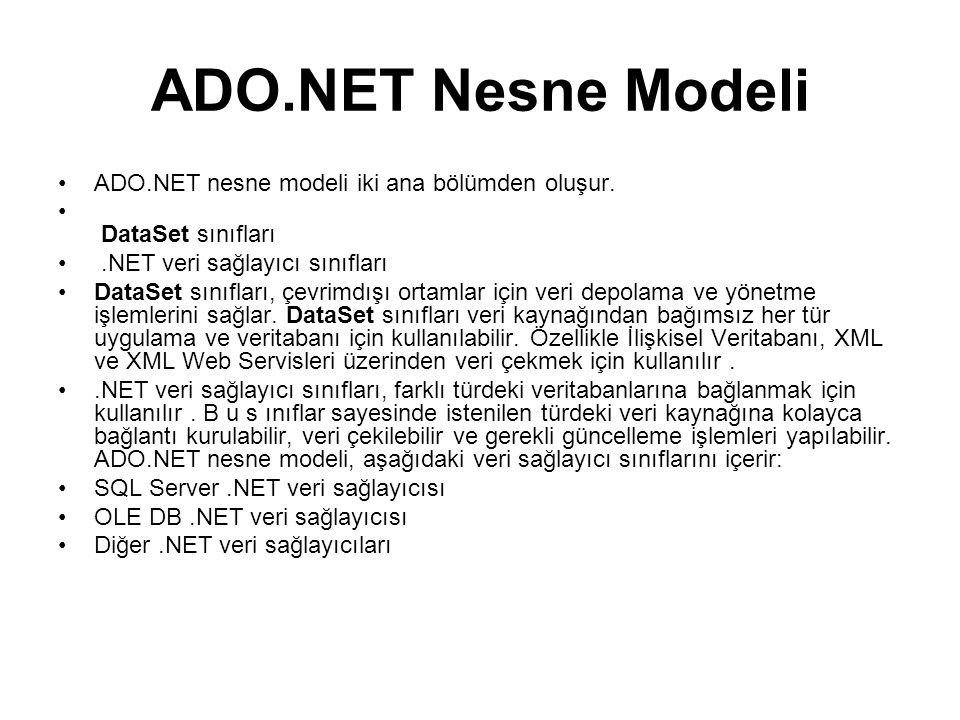 ADO.NET Nesne Modeli •ADO.NET nesne modeli iki ana bölümden oluşur.