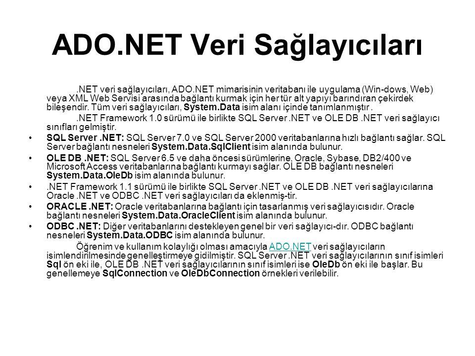 ADO.NET Veri Sağlayıcıları.NET veri sağlayıcıları, ADO.NET mimarisinin veritabanı ile uygulama (Win-dows, Web) veya XML Web Servisi arasında bağlantı kurmak için her tür alt yapıyı barındıran çekirdek bileşendir.
